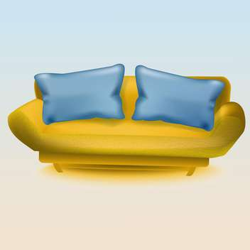 Vector illustration of yellow sofa with blue pillows - vector gratuit #130195
