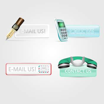 Set with contact us, e-mail us and call us web vector icons - Free vector #130475