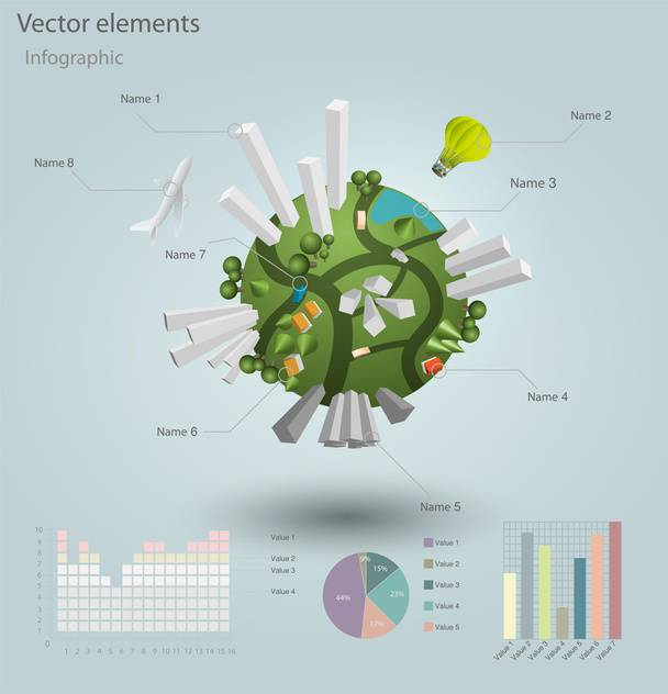 industrial infographic elements with residential areas - Free vector #130495