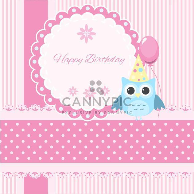 Vector Happy Birthday pink card with owl and balloon - Kostenloses vector #130555