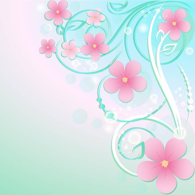 Greeting card with flowers and text place - vector #130565 gratis