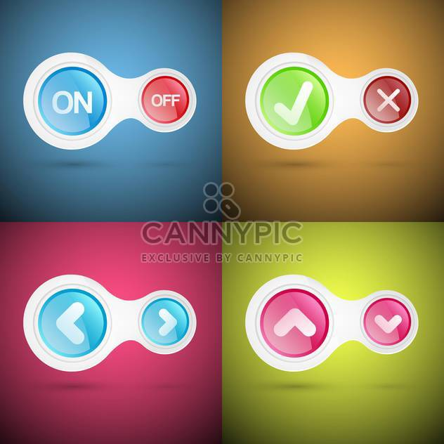 Vector set of colorful buttons - Free vector #130585