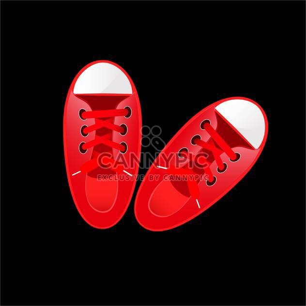 vector illustration of red sneakers on black background - Free vector #130625