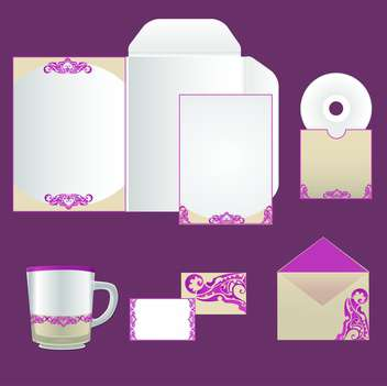 Stationery design set on purple background - vector gratuit #130695