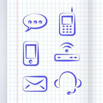 vector illustration of communication icon set - vector #130735 gratis