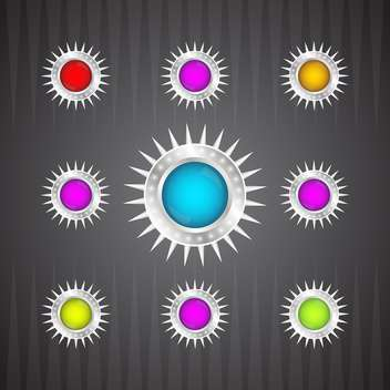 vector collection of colorful glossy round buttons on dark background - бесплатный vector #130745