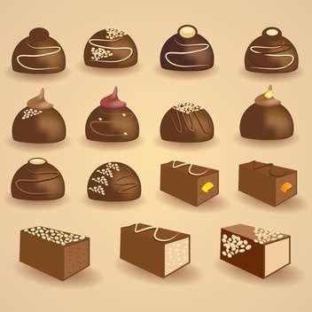 Vector set of chocolate candies on beige background - vector gratuit #130765
