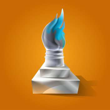 vector illustration of ancient torch on orange background - vector gratuit #130825