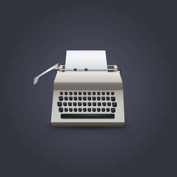 Vintage typewriter vector illustration on dark background - vector gratuit #130975