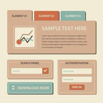 Web site design template navigation elements with icons set - Free vector #131045