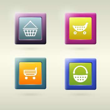 Set of shopping cart icon variations - vector gratuit #131055