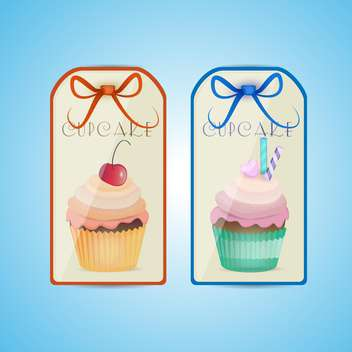 Cute cupcake labels on blue background - vector gratuit #131075