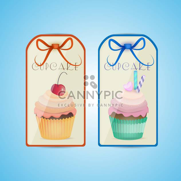 Cute cupcake labels on blue background - Free vector #131075