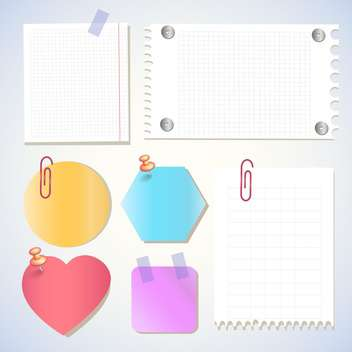 Paper notes, memo stickers vector Illustration - vector #131115 gratis