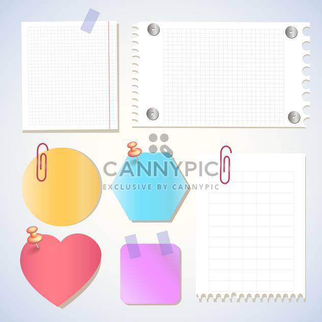 Notizen auf Papier, Memo-Sticker Vektor-Illustration - Kostenloses vector #131115