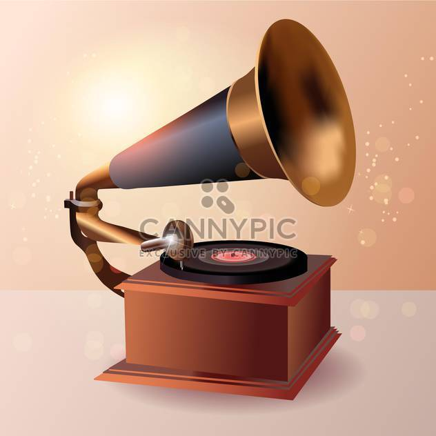 Vintage gramophone vector illustration - Free vector #131125