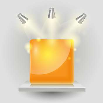 Vector yellow cube under spotlight - vector gratuit #131175