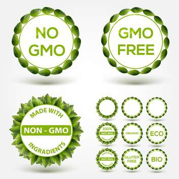No GMO food label stickers - Free vector #131195