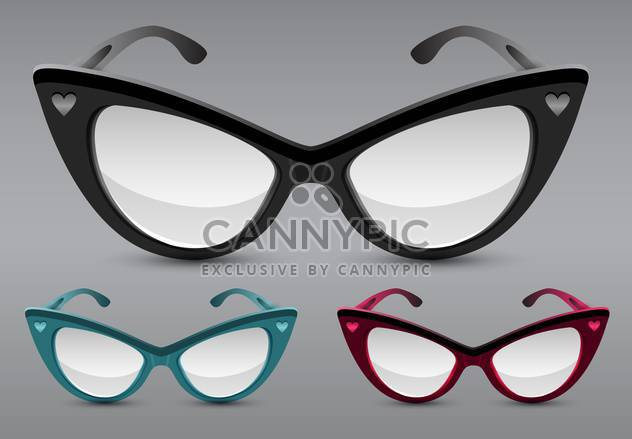 Retro sunglasses cateyes set on grey background - Free vector #131375