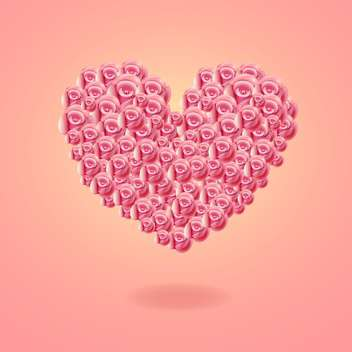 Heart card made of roses on pink background - vector gratuit #131495