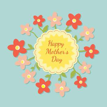 Happy mothers day card with flowers vector illustration - Kostenloses vector #131525