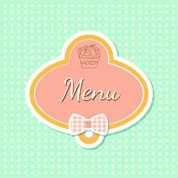 Vintage style menu with cupcake and polka dot background - vector gratuit #131555
