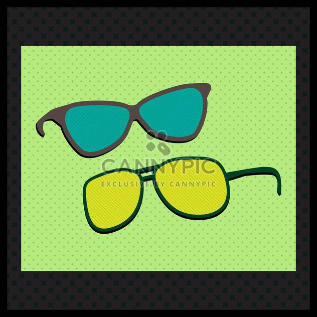 Retro sunglasses on green backgrund with black frame - Free vector #131565