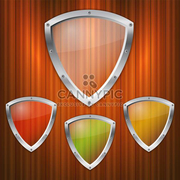Vector set of glass shields on wooden background - Free vector #131705