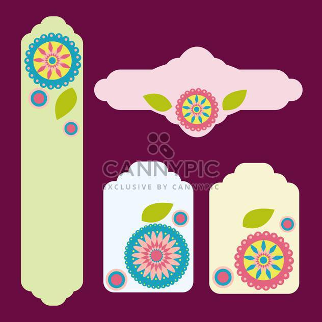 Set of greeting cards with flowers vector - Free vector #131765