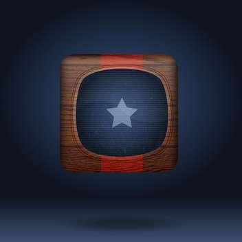 Vector wooden icon with star on blue background - vector gratuit #131785