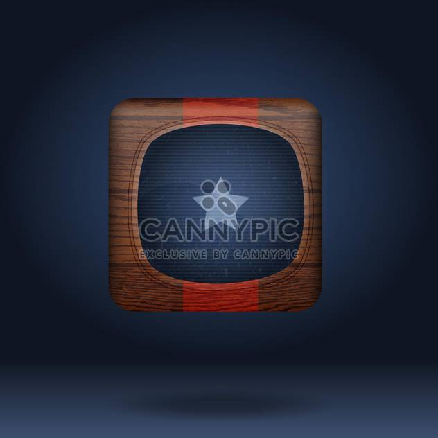 Vector wooden icon with star on blue background - Free vector #131785