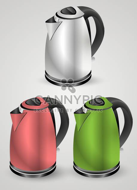 Vector set of electric kettles on white background - Free vector #131825