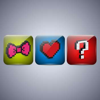 Vector set of pixel icons with bow, heart and question mark - vector gratuit #131945