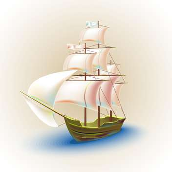 Old ship with sails in the sea vector illustration - vector #131955 gratis