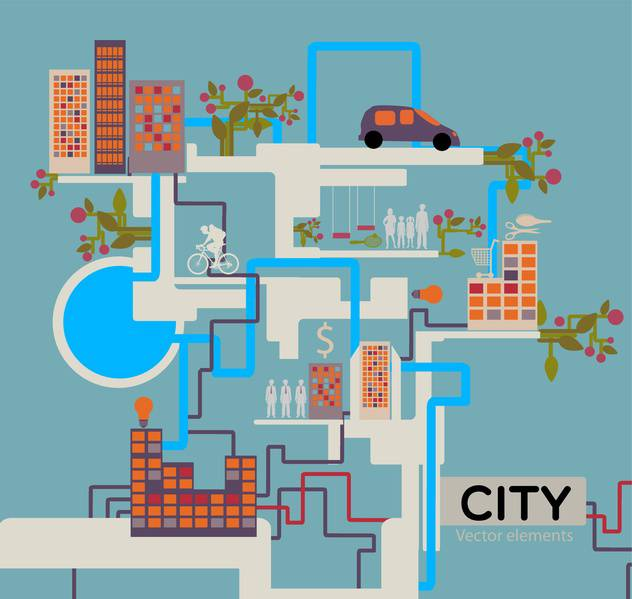 City vector background info graphic - vector gratuit #132035
