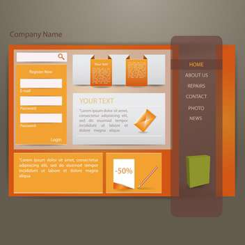 Vector illustration of orange website creative template - vector gratuit #132055
