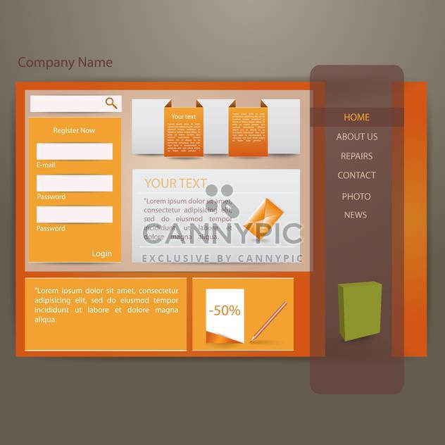 Vector illustration of orange website creative template - Free vector #132055