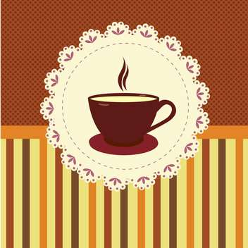 Vector illustration of tea cup on striped background - бесплатный vector #132075