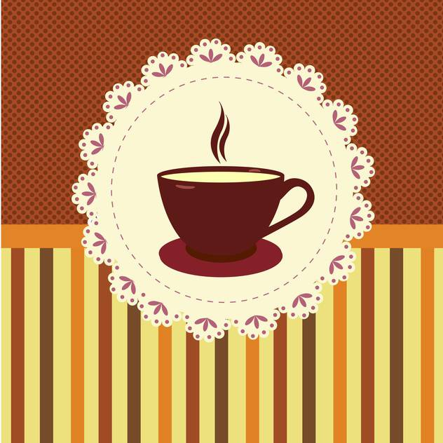 Vector illustration of tea cup on striped background - vector #132075 gratis