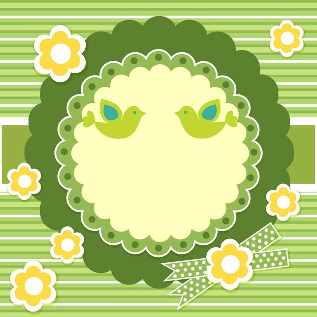 Vector floral frame on green background - vector gratuit #132095