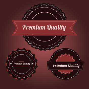 Vector set of premium Quality labels on royal red background - vector #132135 gratis