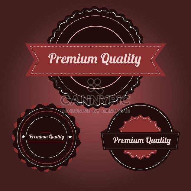 Vector set of premium Quality labels on royal red background - Free vector #132135