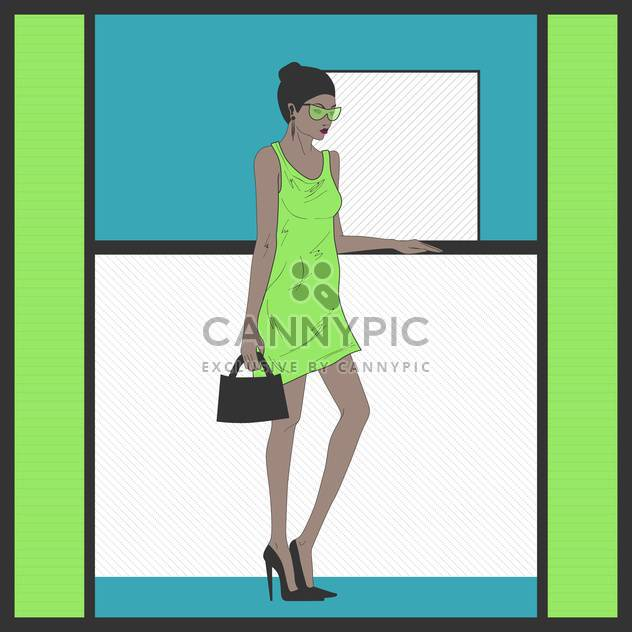 Stylish cartoon woman in green dress standing near the reception desk - Free vector #132295