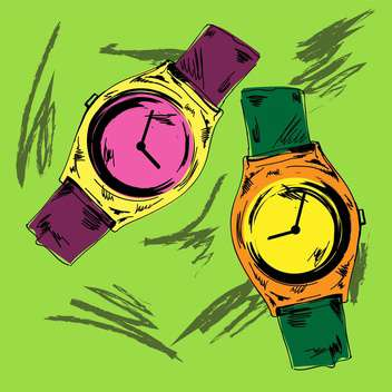Vector vintage hand drawn watches on green background - Kostenloses vector #132305
