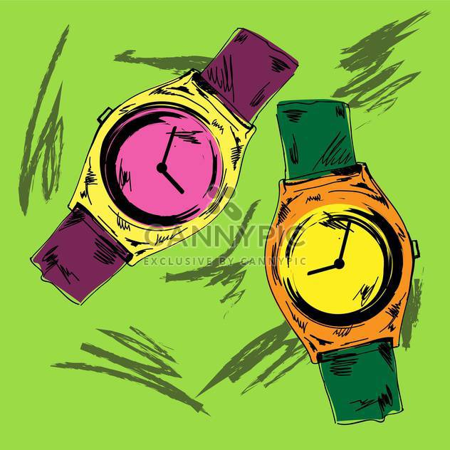 Vector vintage hand drawn watches on green background - Free vector #132305