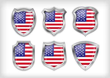 Different icons with flag of USA,vector illustration - Free vector #132375
