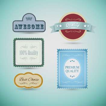 Vintage labels and ribbon retro style set, vector design elements - vector gratuit #132385