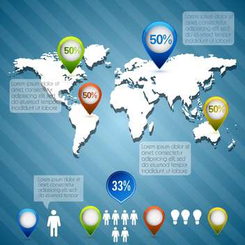 Business infographic elements with map on blue background - vector #132435 gratis