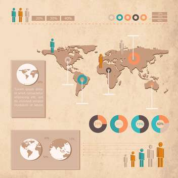Grunge business infographic elements on the map - Free vector #132465