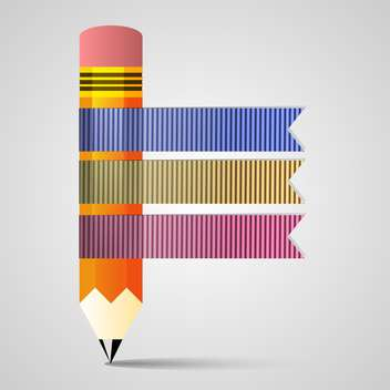 pencil and ribbon banners set - vector gratuit #132515